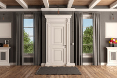 White And Gray Home Entrance Of A Classic Villa With Closed Front Door And Two Windows - 3d Renderin